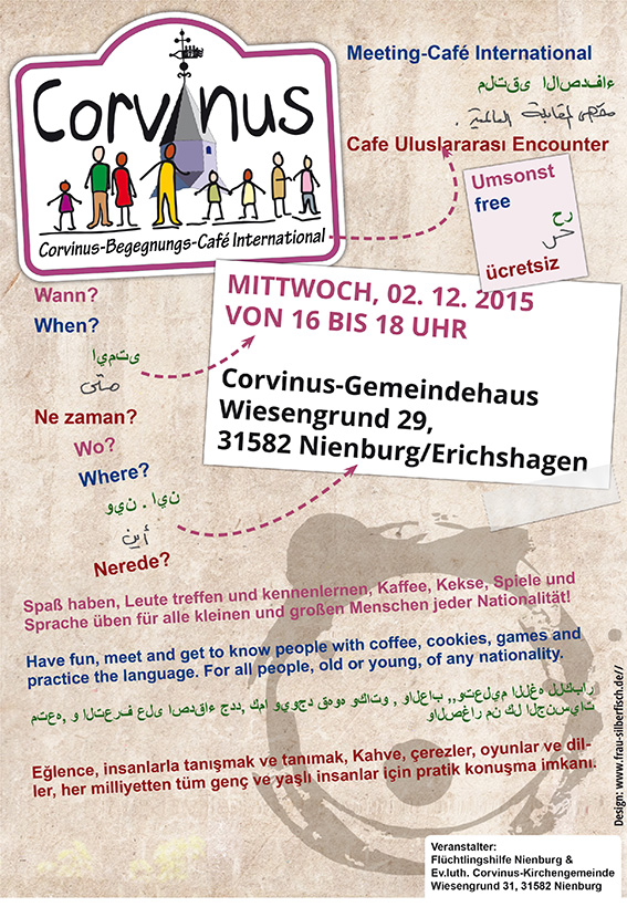 Flyer gratis als Spende: Cafe Corvinus